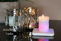 Candles Color Changing Candle In Crystal Gold Metal Candleholder.