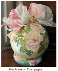 Pink Roses On Champagne Natalie Sarabella Blown Glass Ornament