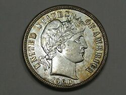 Unc 1908 Us Barber Dime Possibly Cleaned. 19