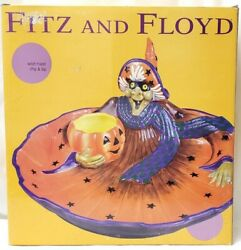 2003 Fitz And Floyd Witch Hazel Chip And Dip Set Halloween Party Novelty Platter