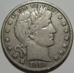 = 1910-s Vf Barber Half, Cleaned, Better Date, Free Shipping