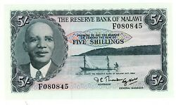 Malawi Andhellip P-1a Andhellip 5 Shillings Andhellip L.1964 Andhellip Choice Unc ... Prefix F Scarce.
