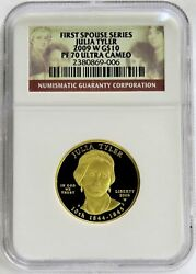 2009 W Gold 10 Julia Tyler 4,844 Minted Spouse 1/2 Oz Proof Coin Ngc Pf 70 Uc