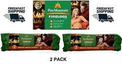 2 Pack Pine Mountain Fire Logs 3 Hour Burn Time, Campfires, Fireplaces New
