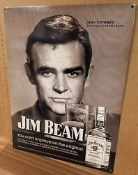 Jim Beam Sean Connery Vintage Whiskey Ad Reproduction Steel Sign Bar Decor