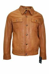 Menand039s Trucker Tan 100 Real Leather Classic Western Style Comfortable Jacket