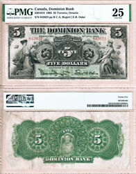 1905 5 Dominion Bank Of Canada Now Td Canada Trust In Pmg Vf25 Condition