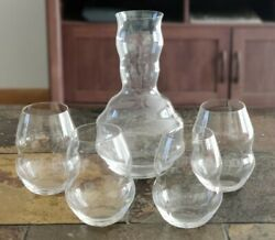 Four Riedel Swirl Crystal Stemless Pinot Noir Wine Tumbler Glasses And Decanter
