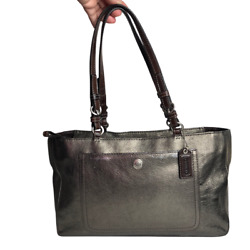 Coach #CO773 F10903 Chelsea Metallic Pewter Bag Pebbled Leather Tote Rare Find $55.00
