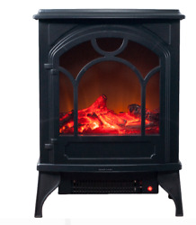 Fireplace Electric Heater Flame Infrared Log Standing Insert Free Realistic