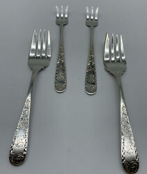 Lot Of 4 Kirk Mayflower Engraved Sterling Silver Salad And Small Forks