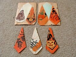6 Antique Halloween Crepe Paper Napkins Beistle Witches Bats Cats Collection