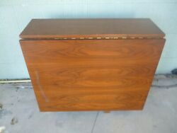 Rare Vintage Mid Century Butler Rolling Drop Leaf Console Table Drawer/chairs