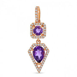 Christmas 0.87ct Natural Round Diamond Amethyst 14k Solid Rose Gold Pendant