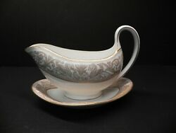 Rare Florentine Gold Gold Dragons By Wedgwood Gravy Boat W Attached Underplate