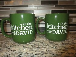 In The Kitchen With David Venable Qvc Coffee Cup Mugs Set Of 2 Happy Dance New