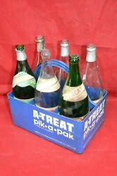 Vintage A-treat Pic-a-pak Crate Carrier Tote Caddy Soda 6 Bottles Blue Bin