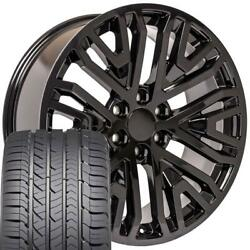 Cp 22 Wheels And Tires Fit Chevy Gm Cadillac High Country Black Goodyear Set
