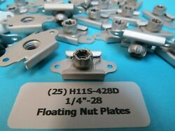 25 Rare 1/4andrdquo-28 Wwii Vintage Floating Nutplates Aircraft Anchor Nuts H11s-428d