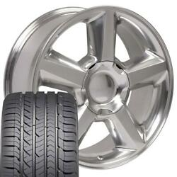22x9 Wheel And Tire Fits Chevy Gm Tahoe Polished Rims Gy Tires 5308 Cp