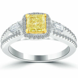 1.32 Ct.fancy Yellow Cushion Cut Diamond Engagement Ring 14k Gold Vintage Style