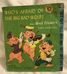 """Disney Who's Afraid Of The Big Bad Wolf 45rpm 7"""" Single Little Golden Records"""