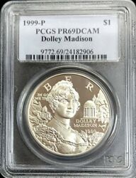 1999 P Silver Us Dolley Madison 1 Dollar Commemorative Pcgs Proof 69 Dcam