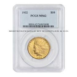 1932 10 Indian Head Pcgs Ms62 Choice Graded Gold Eagle Philadelphia Minted Coin