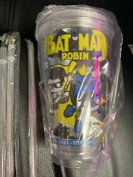 Set Of 4 Batman Robin /tumblers Each With Lid And Straw Batman Lover 😍