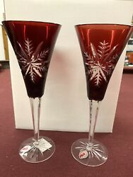 Waterford Snow Crystal Nib Ruby Red Flutes-sold As Pairs 8 Total Stems Availabl