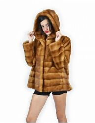 52 Cap Gold Leather Mink Fur Whole And Horizontal Bottom And Coat Sleeves