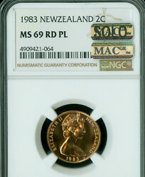 1983 New Zealand Set 2 Cents Ngc Ms-69 Pl Rd Pq Mac Solo Finest Spotless .