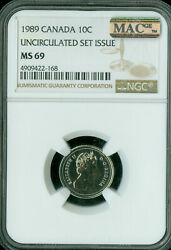 1989 Canada Test 10 Cents Ngc Ms-69 Pq Finest Grade Spotless .