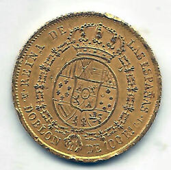 Isabel Ii 100 Reales Doubloon 1851 Madrid C. L. @ Used@
