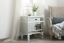 Antique White And Mirrored Dresser Side Table Living Dining Room Bedroom Cabinet