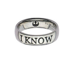 Licensed Disney Star Wars Stainless Steel I Know Ring - Size 10 - New In Box