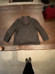 Water Buffalo Leather Car Coat/jacket Menand039s Eu62 Usa 52 Made In Florence Italy