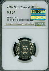 2007 New Zealand 20 Cents Ngc Ms-69 Mac Finest Grade Spotless 3500 Minted