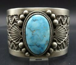Wide And Heavy Vintage Navajo Sterling Silver Turquoise Cuff Bracelet 143g
