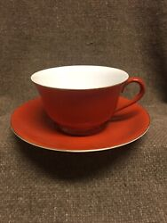 Vintage Noritake Tea Cup And Saucer Made In Japan 1940s Red