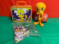 Vintage Tweety Bird Barrel Coin Bank And Tweey Lunch Box With Puzzle