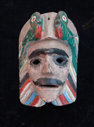 Vintage Hand Carved Cacique Dance Mask From Yepocapa, Guatemala
