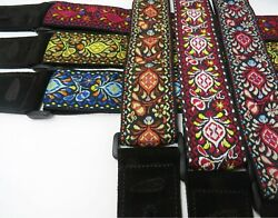 Jacquard Woven Hendrix 60and039s Vintage Adjustable Guitar Or Bass Strap