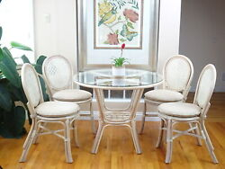 Denver Dining Set Of 4 Rattan Side Chairs And Round Table Glass White Wash