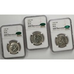 1938 Boone 50c P D S Ngc Cac Certified Ms66 Set Of 3 Gem Mint State Silver Coins