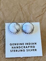 Navajo Sterling Silver And White Buffalo With Matrix Stud Earrings $32.00