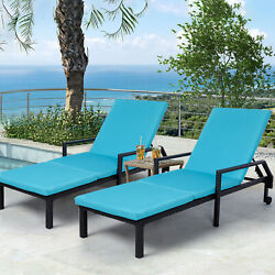 Outdoor Pool Chaise Lounge Chair Patio Folding Rattan Recliner W/ Cushion Blue
