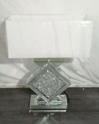 Sparkle Mirrored Diamond Glitz Crushed Crystal White Shade Table Bedside Lamp