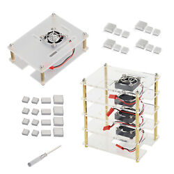 Layers Stackable Dog Bone Case Enclosure W/cooling Fans For Raspberry Pi 4b/3b+
