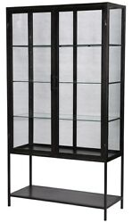 78 T Blanda Cabinet Gunmetal Finished Iron With Glass Two Doors Modern
